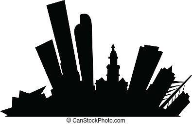 Cartoon Denver - Cartoon skyline silhouette of the city of...