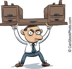 Desk Lifter - A cartoon office worker lifts his desk above...