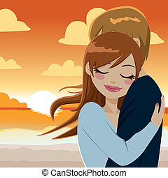 Passionate Sunset Hug - Beautiful young couple in love...