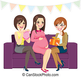 Baby Shower Party - Three beautiful women on a baby shower...