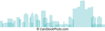 Detroit Skyline - Skyline silhouette of the city of Detroit,...