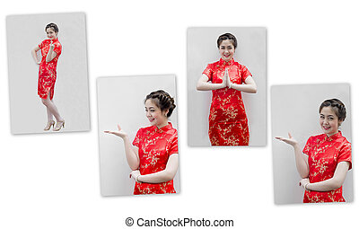 set of Asian Chinese woman in Traditional Chinese Cheongsam...