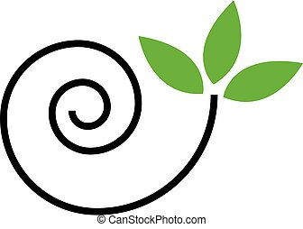 Abstract snail with green leaves- logo concept