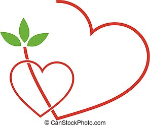 Two Hearts with leaves- logo for matrimony or wedding...