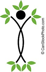 Human figure with green leaves- Abstract ecological concept