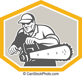 Tree Surgeon Arborist Holding Chainsaw Shield - Illustration...