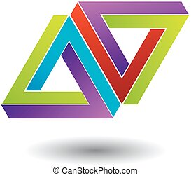 Two penrose triangles optical illusion- Business logo