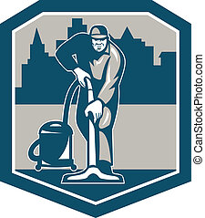 Janitor Cleaner Vacuum Carpet Cleaning Shield - Illustration...