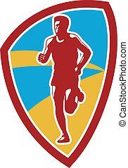Marathon Runner Shield Retro - Illustration of marathon...