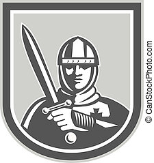 Crusader Knight With Sword Front Crest - Illustration of...