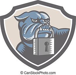 Bulldog Dog Mongrel Padlock Shield