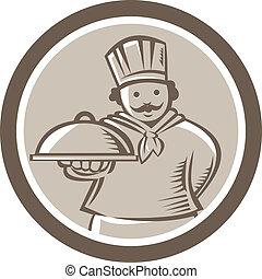 cozinheiro, cozinheiro, servindo, alimento, platter,...