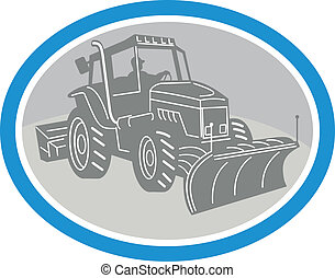 Snow Plow Truck Oval Retro - Illustration of a snow plow...