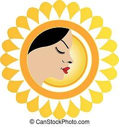 Sun tan logo- A face with a bright yellow sun