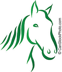 Head of Horse Vector - Vector illustration of line-art...