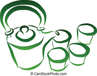 Tea set vector - vector illustration of free hand sketch tea...