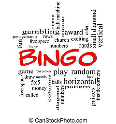 Bingo Word Cloud Concept in Red Caps
