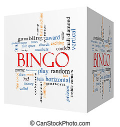 Bingo 3D cube Word Cloud Concept