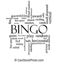 Bingo Word Cloud Concept in black and white