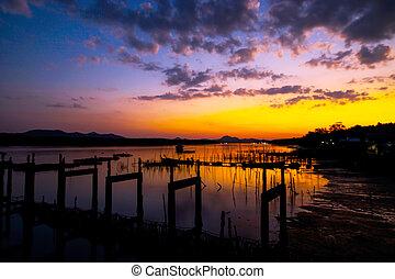 Silhouette of the Phang Nga Bey, Thailand
