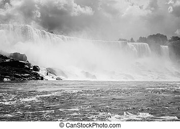 Niagara Falls in Black and White - The American falls and...