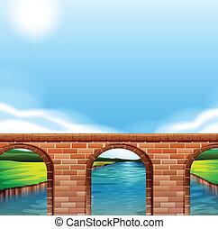 A bridge under the bright sun - Illustration of a bridge...