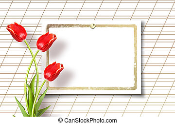 Bouquet of beautiful red tulips with greeting on paper white...