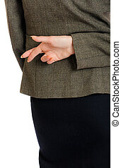 business woman crossed fingers - business woman holding...