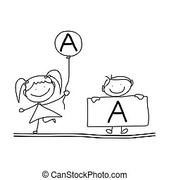 hand drawing cartoon happiness alphabet - hand drawing...
