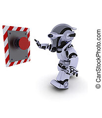 Robot pushing a button - 3D Render of a Robot pushing a...