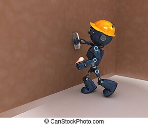Android plastering a wall - 3D Render of an Android...
