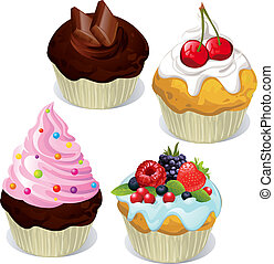 Cupcakes and muffins different flavors and colors isolated...