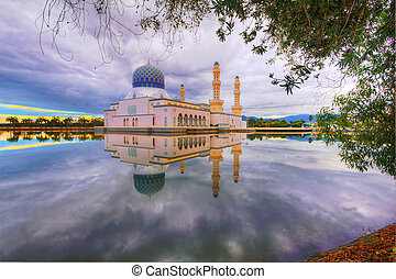Sunrise view at mosque - Beautiful sunrise view over a...