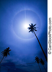 Moon Halo Phenomenon - Beautiful moon halo phenomenon in...