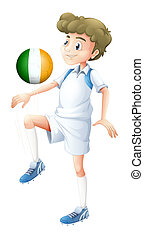 A football player using the ball with the flag of Ireland