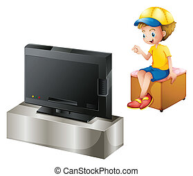 A boy watching TV - Illustration of a boy watching TV on a...