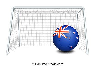 A ball near the net with the flag of New Zealand