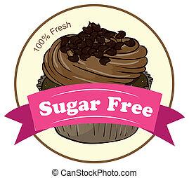 A fresh cupcake with a sugar free label