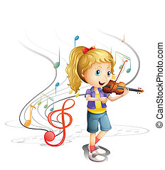A young musician - Illustration of a young musician on a...