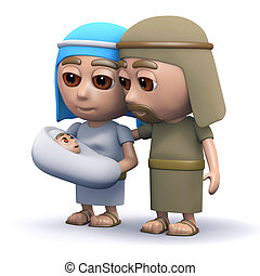 3d Baby Jesus with Mary and Joseph - 3d render of the baby...
