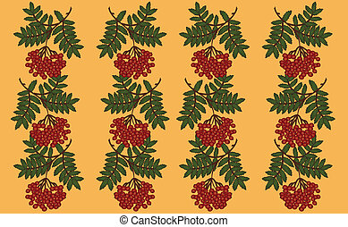 Rowanberry pattern backgroun on a yellow