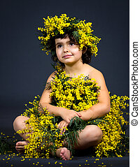 little girl with floral dress