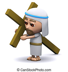 3d Jesus carrying the cross - 3d render of a Jesus carrying...