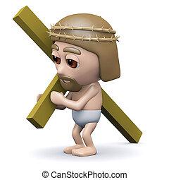 3d Jesus carries the cross - 3d render of Jesus in a crown...