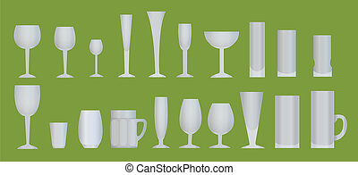 Utensils for drinks - Glasses, wine glasses, cups and mugs...