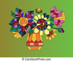 Vase of flowers - Abstract color illustration of a vase and...