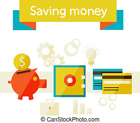 saving money - Flat design modern vector illustration in...