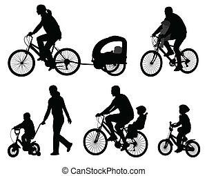 bicyclists silhouettes - parents riding bicycles with their...