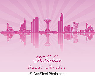 Khobar skyline in purple radiant orchid in editable vector...