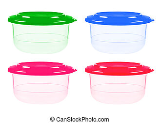 Plastic containers for food isolated on white - Plastic...